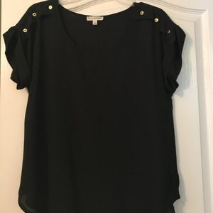 Dressy sheer black top from Zenana Outfitters.